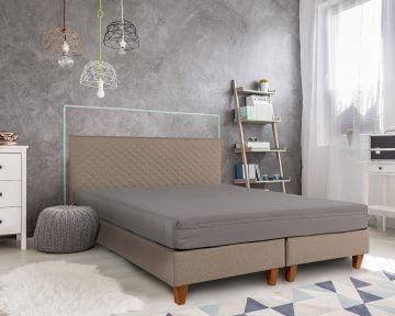 Pat Dormitor Matrimonial Bedora Dream Bej 160x200 cm, stofa, fara lada de depozitare