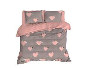 Lenjerie De Pat EnLora Home Heart, 100% bumbac ranforce, pentru 2 persoane, roz/gri