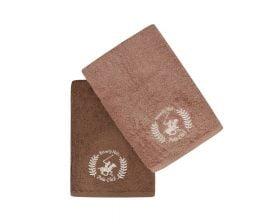 Set Prosoape De Baie Beverly Hills Polo Club Brown, 100% bumbac, 2 bucati, maro, maro inchis, 70x140 cm