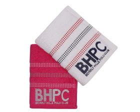 Set Prosoape De Maini Beverly Hills Polo Club Red Stripes, 100% bumbac, 2 bucati, alb, rosu, 50x90 cm