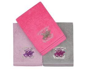 Set Prosoape De Maini Beverly Hills Polo Club Fucsia Violet Grey, 100% bumbac, 3 bucati, roz, mov, gri, 50x90 cm