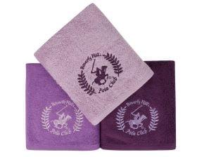 Set Prosoape De Maini Beverly Hills Polo Club Violet, 100% bumbac, 3 bucati, mov, 50x90 cm
