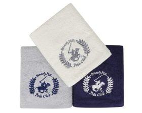 Set Prosoape De Maini Beverly Hills Polo Club White Grey Blue, 100% bumbac, 3 bucati, alb, gri, albastru, 50x90 cm