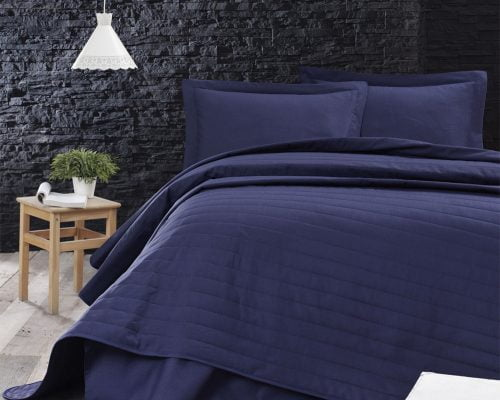 Cuvertura De Pat Dubla EnLora Home Dark Blue, 65% bumbac, 35% poliester, albastru inchis