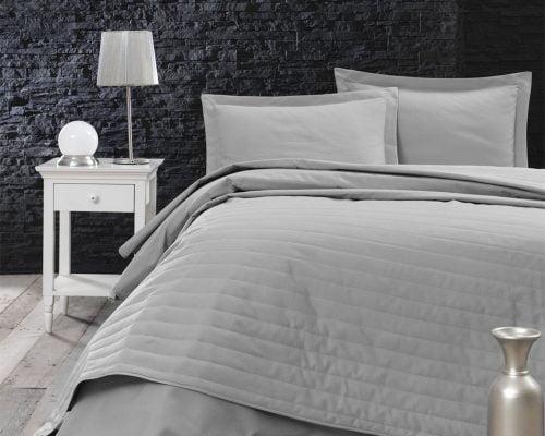 Cuvertura De Pat Dubla EnLora Home Grey, 65% bumbac, 35% poliester, gri