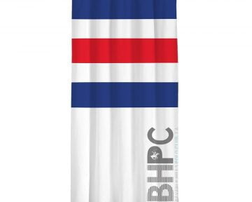 Draperie Beverly Hills Polo Club White Dark Blue Red, 100% poliester, alb, albastru inchis, rosu, 140×260 cm