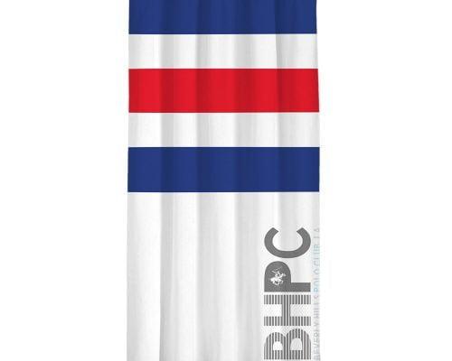 Draperie Beverly Hills Polo Club White Dark Blue Red, 100% poliester, alb, albastru inchis, rosu, 140x260 cm