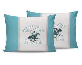 Set Fete de Perna Beverly Hills Polo Club Turquoise, 100% bumbac, 2 bucati, albastru, alb, 50x70 cm