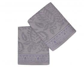 Set Prosoape De Maini Soft Kiss Leaves Grey, 100% bumbac, 2 bucati, gri, 50x90 cm