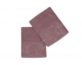 Set Prosoape De Maini Soft Kiss Pamela Violet, 100% bumbac, 2 bucati, mov, 50x90 cm