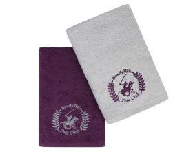 Set Prosoape De Maini Beverly Hills Polo Club Purple Grey, 100% bumbac, 2 bucati, mov, gri, 50x90 cm