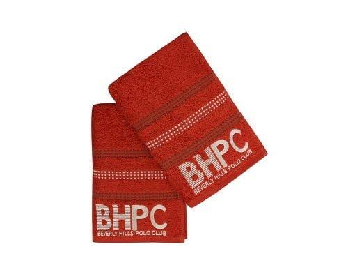 Set Prosoape De Maini Beverly Hills Polo Club Brick, 100% bumbac, 2 bucati, portocaliu, 50x90 cm