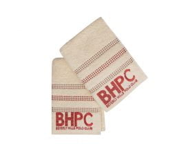 Set Prosoape De Maini Beverly Hills Polo Club Cream Red, 100% bumbac, 2 bucati, crem, rosu, 50x90 cm