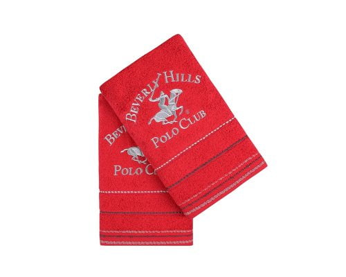 Set Prosoape De Maini Beverly Hills Polo Club Red, 100% bumbac, 2 bucati, rosu, 50x90 cm