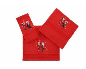 Set Prosoape De Baie Hobby Couple Red, 100% bumbac, 3 bucati, rosu