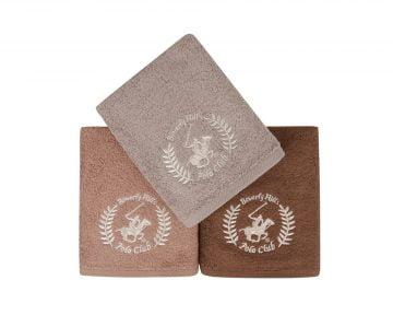 Set Prosoape De Maini Beverly Hills Polo Club Earth Brown, 100% bumbac, 3 bucati, maro, 50x90 cm