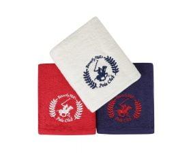 Set Prosoape De Maini Beverly Hills Polo Club Red White Blue, 100% bumbac, 3 bucati, rosu, alb, albastru, 50x90 cm