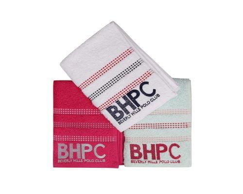 Set Prosoape De Maini Beverly Hills Polo Club Pink Fucsia White, 100% bumbac, 3 bucati, roz, verde deschis, alb, 50x90 cm