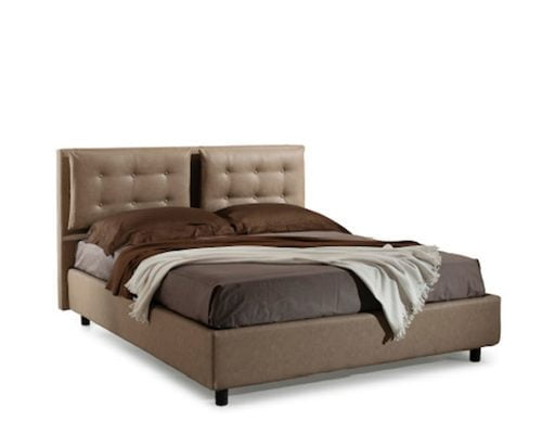 Pat matrimonial Bed&Sofa Bologna iSomn, lada de depozitare, piele ecologica, maro, 160x200 cm