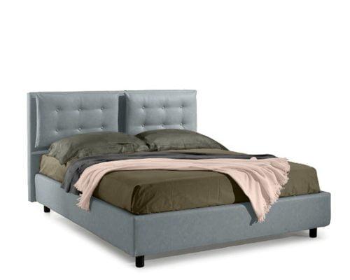 Pat matrimonial Bed&Sofa Bologna iSomn, lada de depozitare, piele ecologica, gri deschis, 160x200 cm