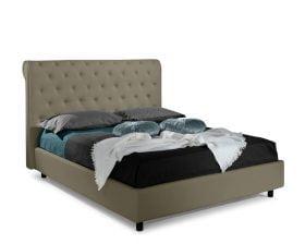 Pat matrimonial Bed&Sofa Chester iSomn, lada de depozitare, piele ecologica, khaki, 160x200 cm
