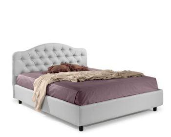 Pat matrimonial Bed&Sofa Chiara iSomn, fara lada de depozitare, piele ecologica, alb, 160×200 cm