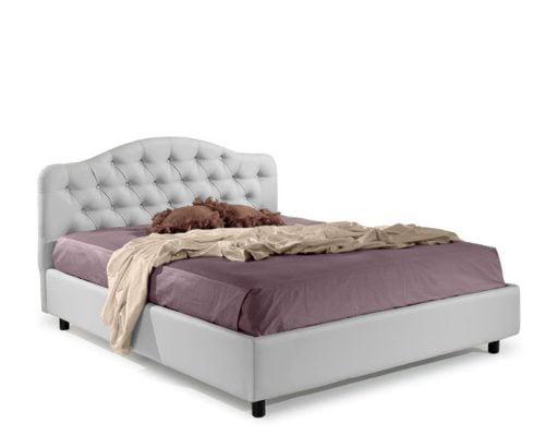 Pat matrimonial Bed&Sofa Chiara iSomn, fara lada de depozitare, piele ecologica, alb, 160x200 cm