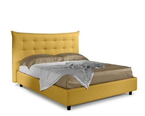 Pat matrimonial Bed&Sofa Debora iSomn, lada de depozitare, stofa, galben, 160x200 cm