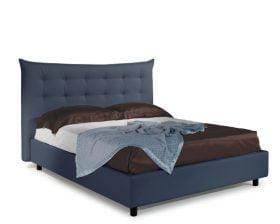 Pat matrimonial Bed&Sofa Debora iSomn, lada de depozitare, piele ecologica, albastru inchis, 160x200 cm