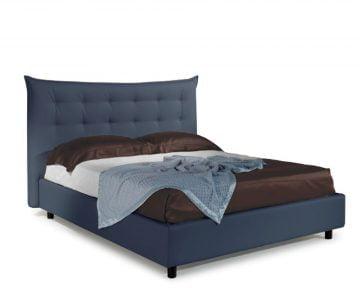 Pat Dormitor Matrimonial Bed&Sofa Debora iSomn 160x200 cm, lada de depozitare, piele ecologica, albastru inchis