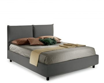 Pat Dormitor Matrimonial Bed&Sofa Fiocco iSomn 160x200 cm, lada de depozitare, piele ecologica, gri