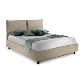 Pat matrimonial Bed&Sofa Fiocco iSomn, lada de depozitare, stofa, bej, 160x200 cm