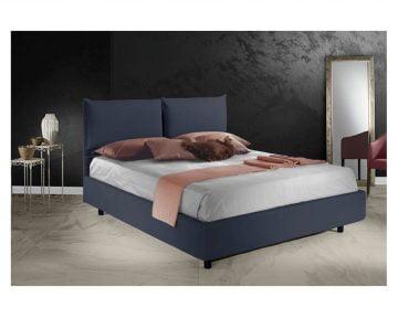 Pat Dormitor Matrimonial Bed&Sofa Fiocco iSomn 160x200 cm, lada de depozitare, stofa, albastru