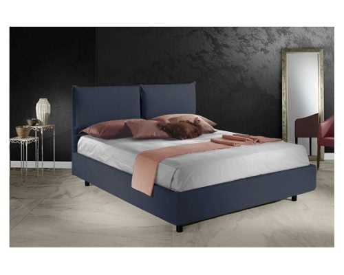 Pat matrimonial Bed&Sofa Fiocco iSomn, lada de depozitare, stofa, albastru, 160x200 cm