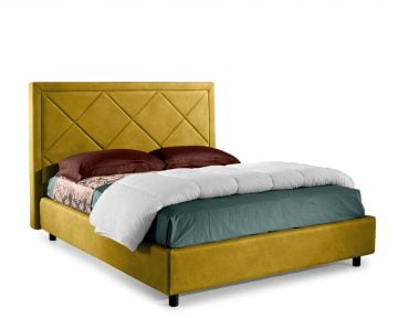 Pat Dormitor Matrimonial Bed&Sofa Venezia iSomn 160x200 cm, fara lada de depozitare, stofa, galben