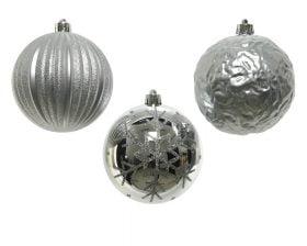 Globuri de Brad Decoris Silver, 3 globuri, plastic, argintiu