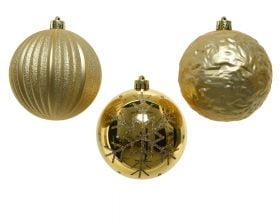 Globuri de Brad Decoris Gold, 3 globuri, plastic, auriu
