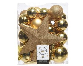 Globuri si Varf de Brad Decoris Star Gold, 33 globuri, plastic, auriu