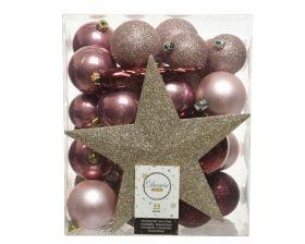 Globuri si Varf de Brad Decoris Star Gold, 33 globuri, plastic, roz, auriu