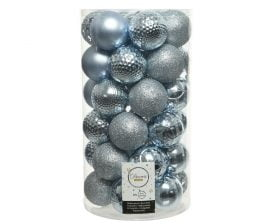 Globuri de Brad Decoris Light Blue, 37 globuri, plastic, albastru deschis