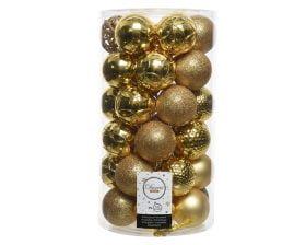 Globuri de Brad Decoris Gold, 37 globuri, plastic, auriu