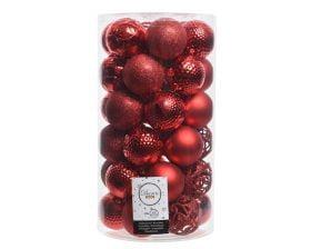 Globuri de Brad Decoris Red, 37 globuri, plastic, rosu
