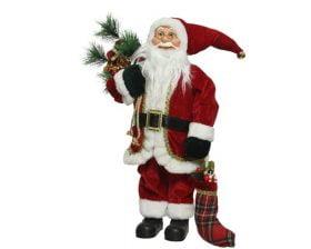 Decoratiune Decoris Santa Classic, 100% poliester, 60 cm, rosu
