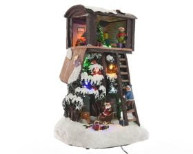 Decoratiune luminoasa Lumineo Santa Tree House, 11 LED-uri, multicolor