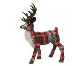 Decoratiune Decoris Checkered Deer, 100% poliester, rosu