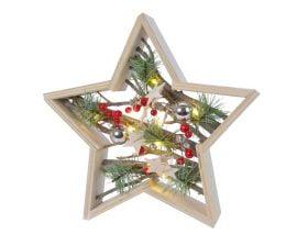 Decoratiune luminoasa Lumineo Star, 10 LED-uri, lemn, multicolor
