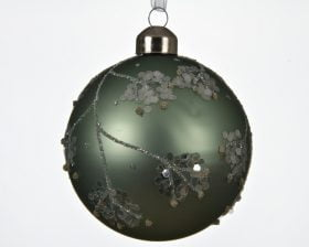 Globuri de Brad Decoris Leaves, 3 globuri, sticla, verde