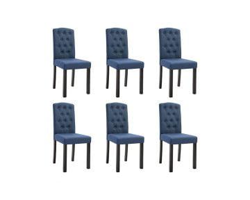 Scaune de Bucatarie, albastru, material textil, 6 buc