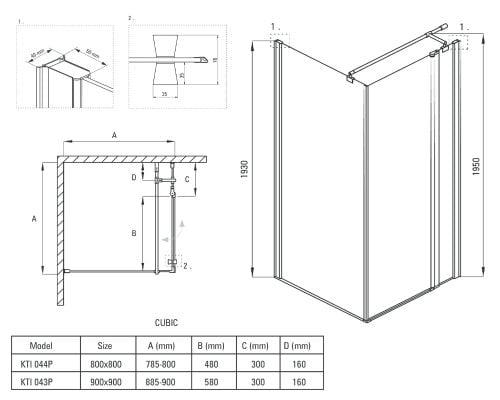 Cabina de dus Deante Cubic 80/90x80/90x195 cm, patrata, 1 usa cu deschidere catre exterior, sticla securizata de 6 mm, transparenta dim