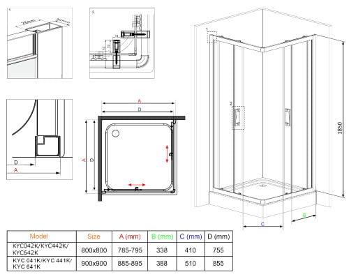 Cabina de dus Deante Funkia 90x90x185 cm, patrata, 2 usi glisante, sticla securizata de 5 mm, transparenta dim